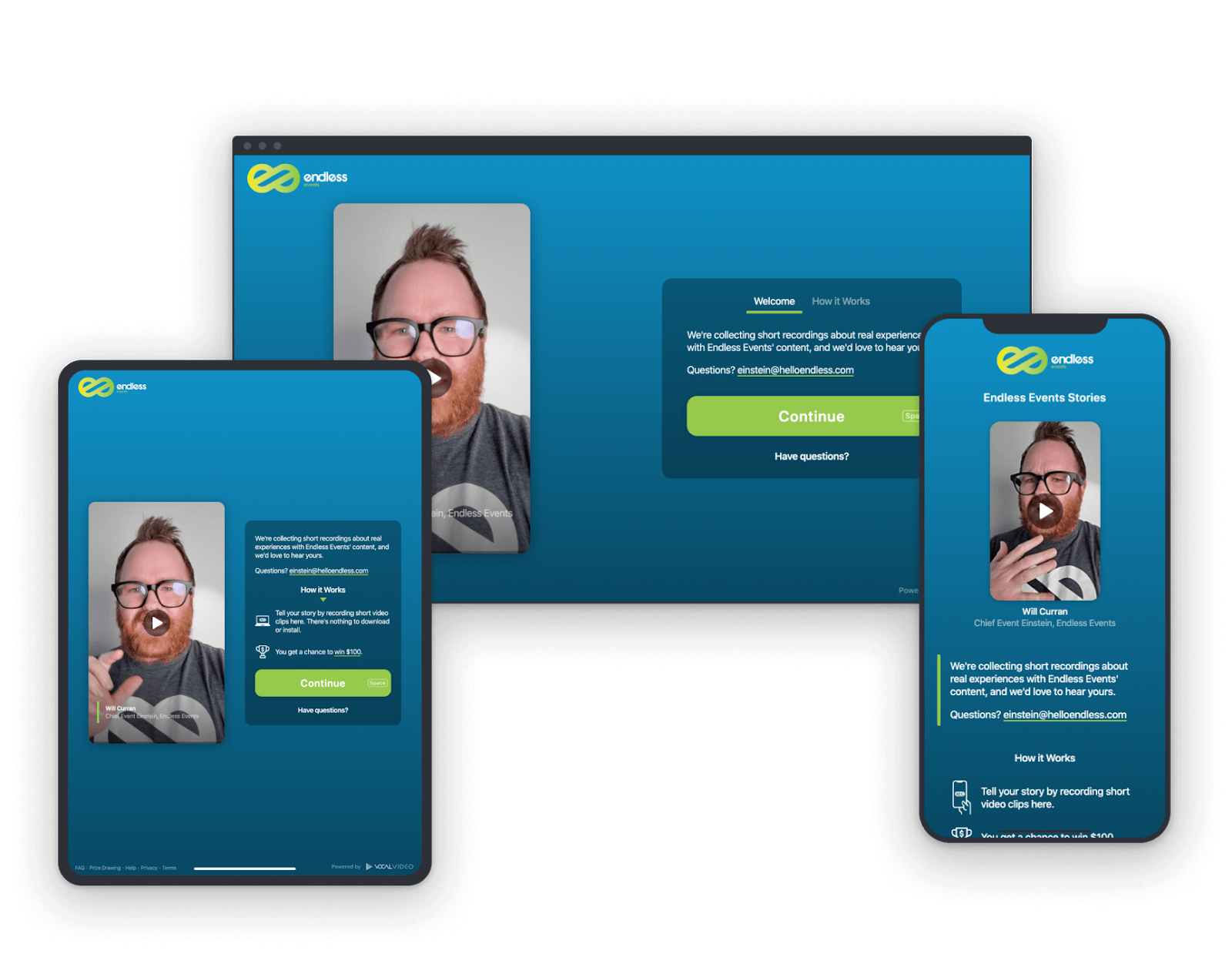 A preview of the Vocal Video remote video testimonials collection process.