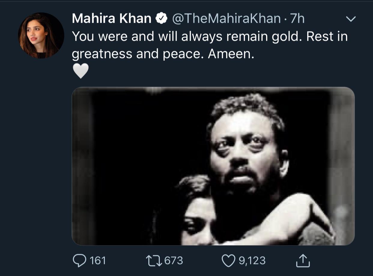 Mahira khan on Irrfan Khan