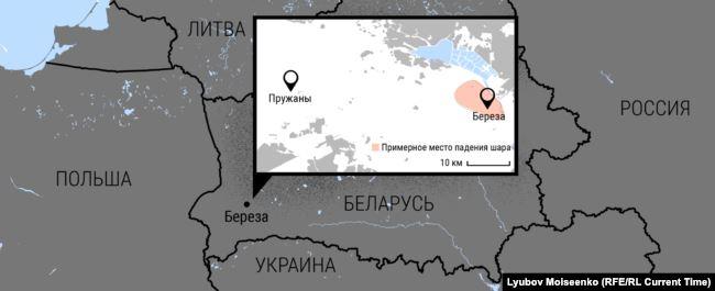 Мапа місця інциденту, яку підготував телеканал «Настоящее время»