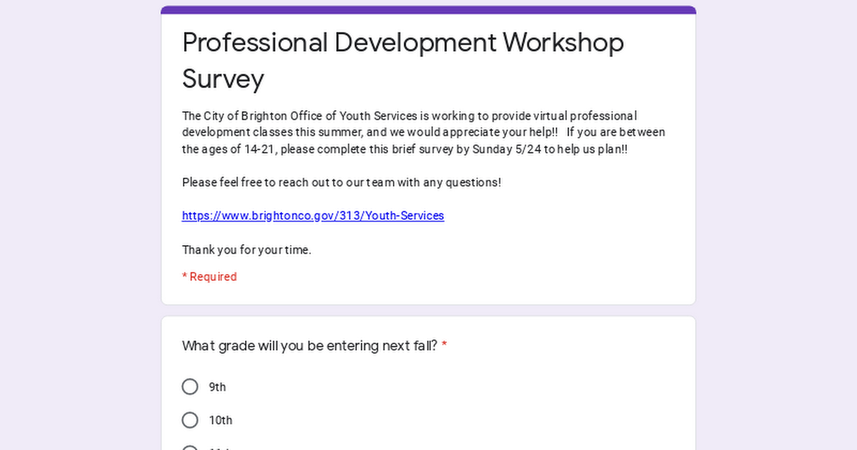 Professional Development Workshop Survey 6