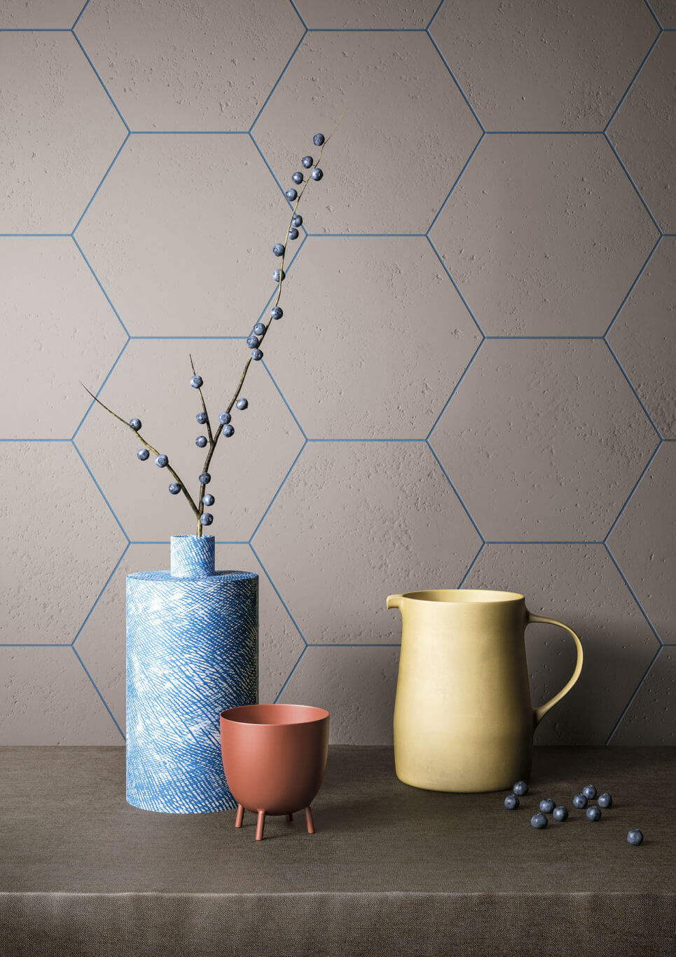 Hexagon tile wall with blue grout