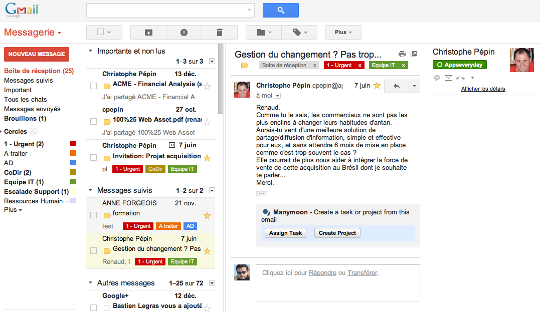 volet prévisualisation gmail messagerie collaborative