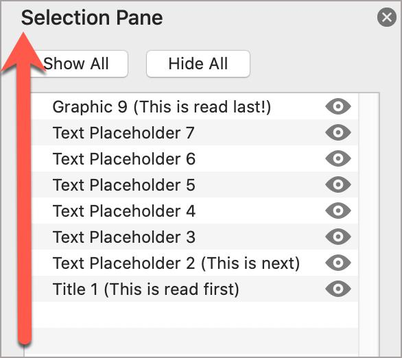 PowerPoint Selection Pane, showing the reading order of the slides, from bottom to top.