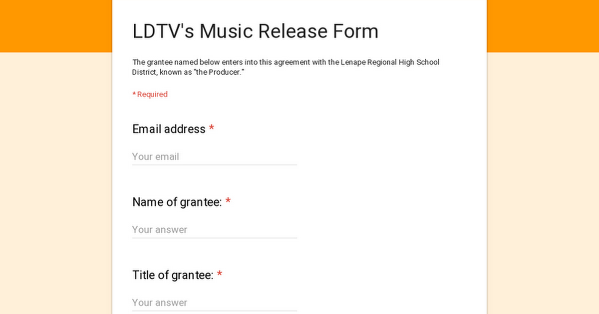 LDTV\'s Music Release Form