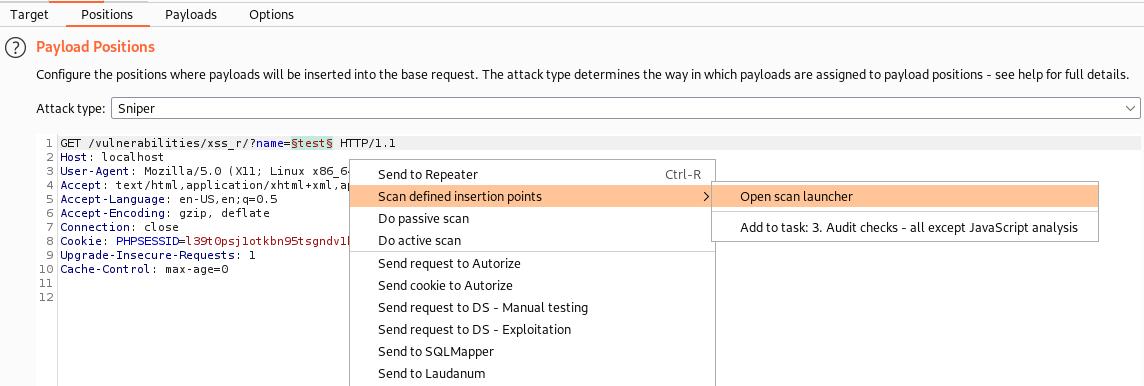 screenshot of burp suite intruder, define an insert point step.