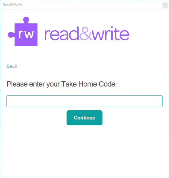 Enter your Take Home Code
