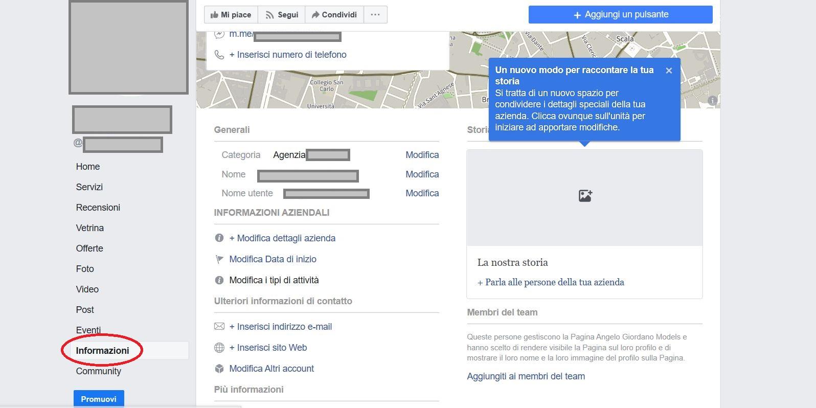 Aggiungere servizi alla pagina Facebook