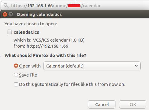 Export calendar zimbra using URL