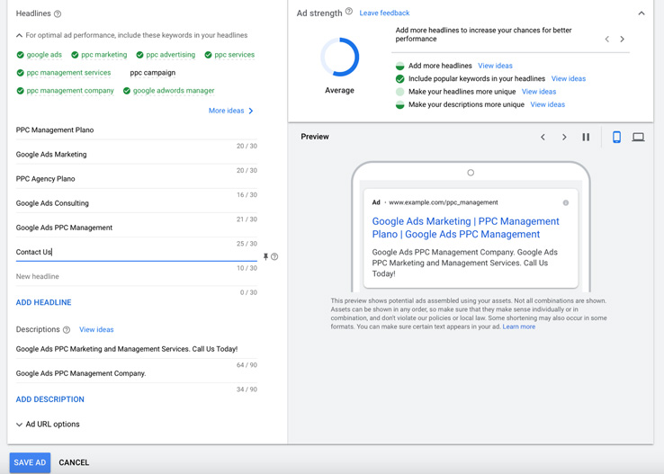 Entering headlines and descriptions for the responsive search ad