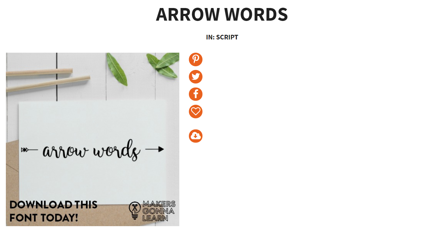 Makers Gonna Learn font called Arrow Words with script text and arrow
