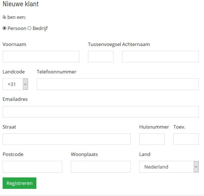 Registratieformulier afronden webhosting bij Neostrada