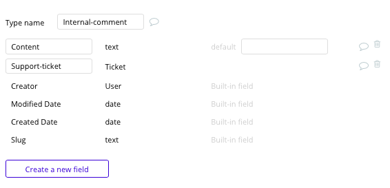 Bubble Zendesk no-code clone with internal comment data type and fields