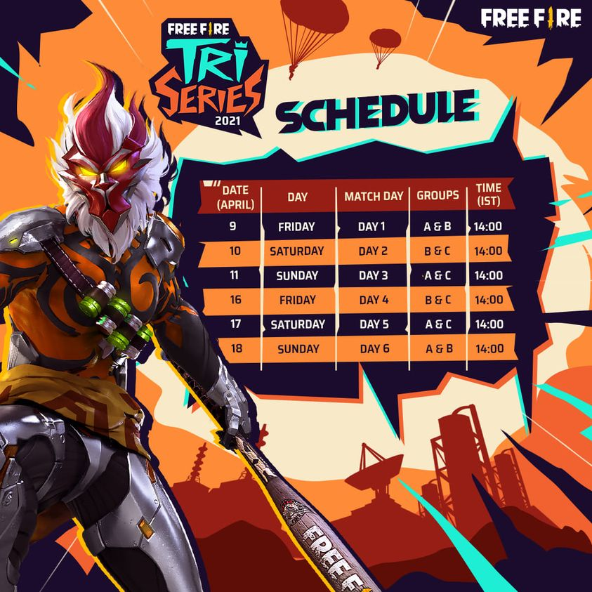 Free Fire Tri Series Teams, Groups and Schedule