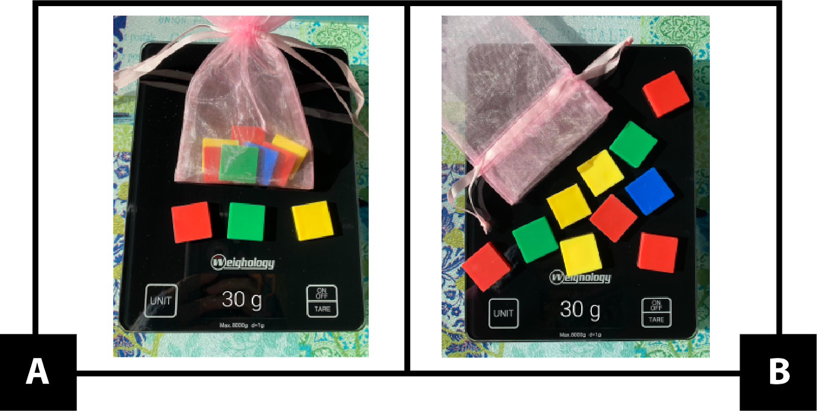 A. shows a bag with colored square tiles inside and 3 tiles outside of the bag. The collection weighs 30 grams. B. shows an empty bag with 10 tiles outside of the bag. The collection weighs 30 grams.