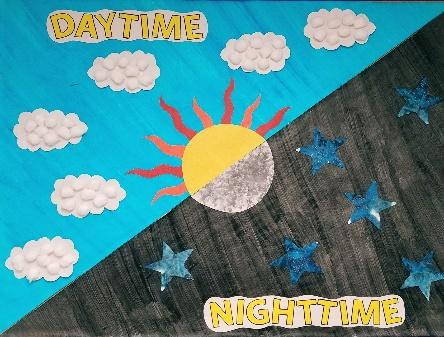 Day and night bulletin board. Infant art projects. Light and Dark ...