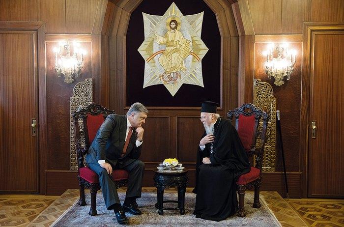Президент Украины Петр Порошенко и вселенский патриарх Варфоломей I во время встречи в Стамбуле, 9 апреля 2018.