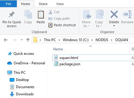 Copy file html vào thư mục đã tạo