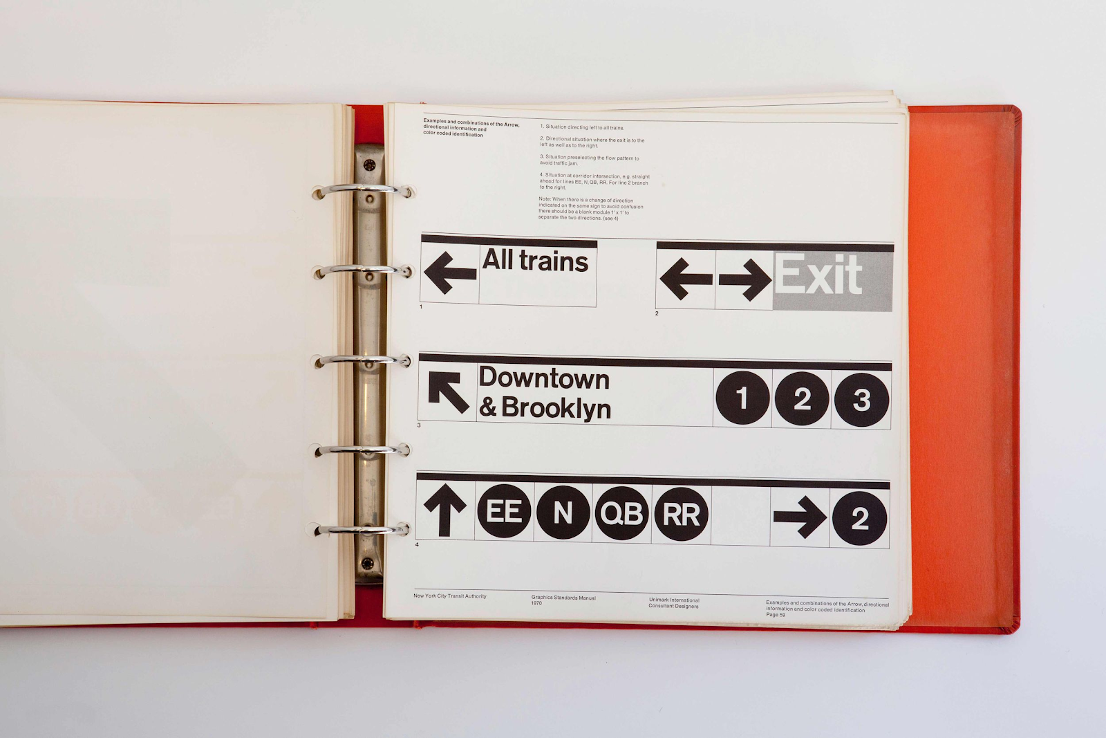 A page from the NYC Transit Authority Standards Manual showing examples and combinations of the arrow element.