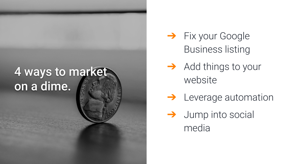 4 ways to market on a dime: Fix your Google Business listing, Add content to your website, Leverage automation, and Jump into social media