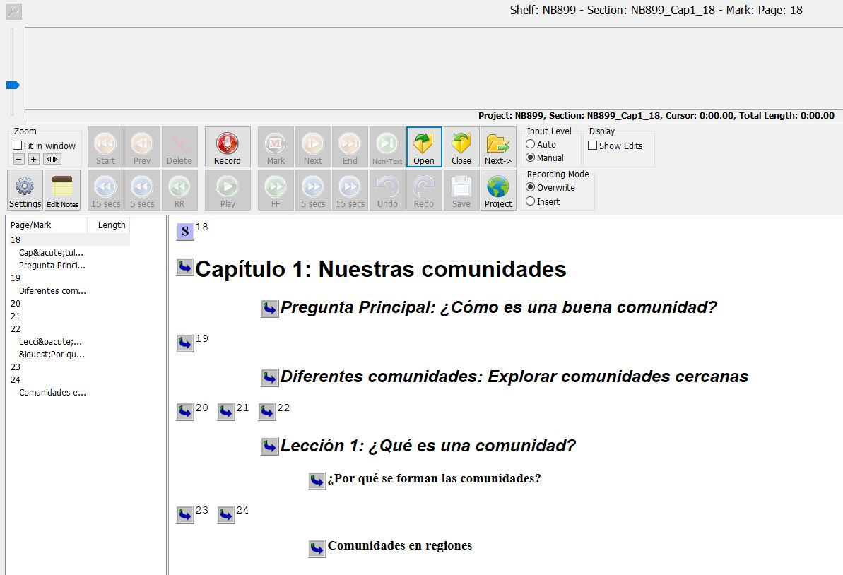 EasyBooks screen, showing headings from previous Spanish book image