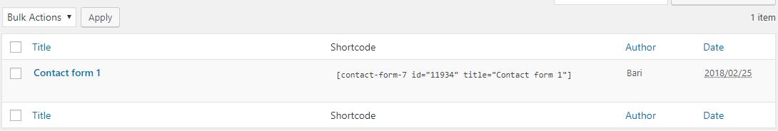 contact form 7 plugin shortcode