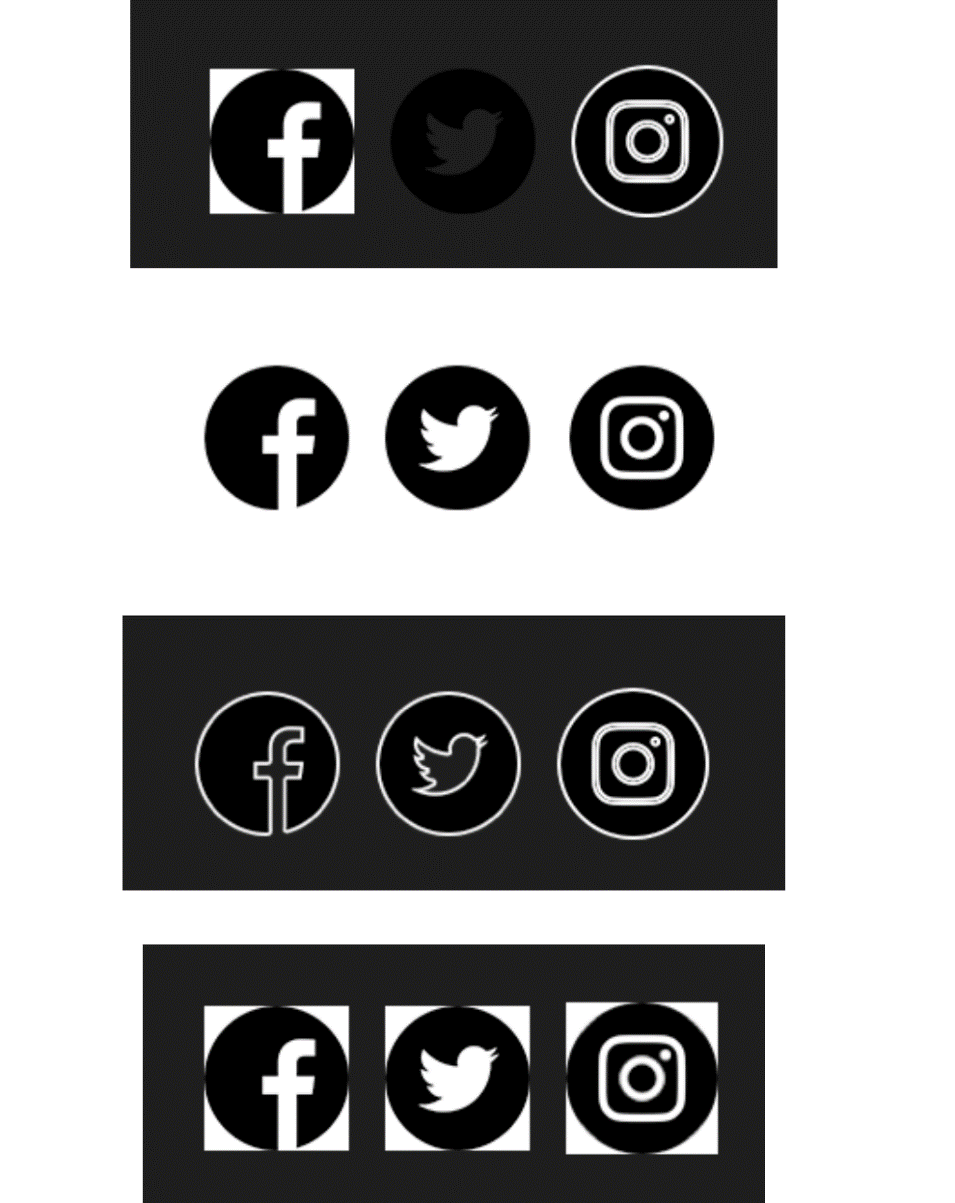 social media icons dark mode