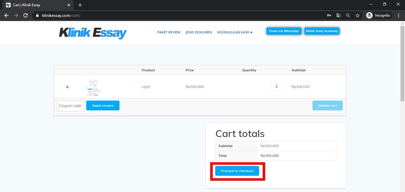 apabila pesanan sudah cocok dan benar, klik di proceed to checkout untuk lanjut ke laman upload esai dan melakukan pembayaran