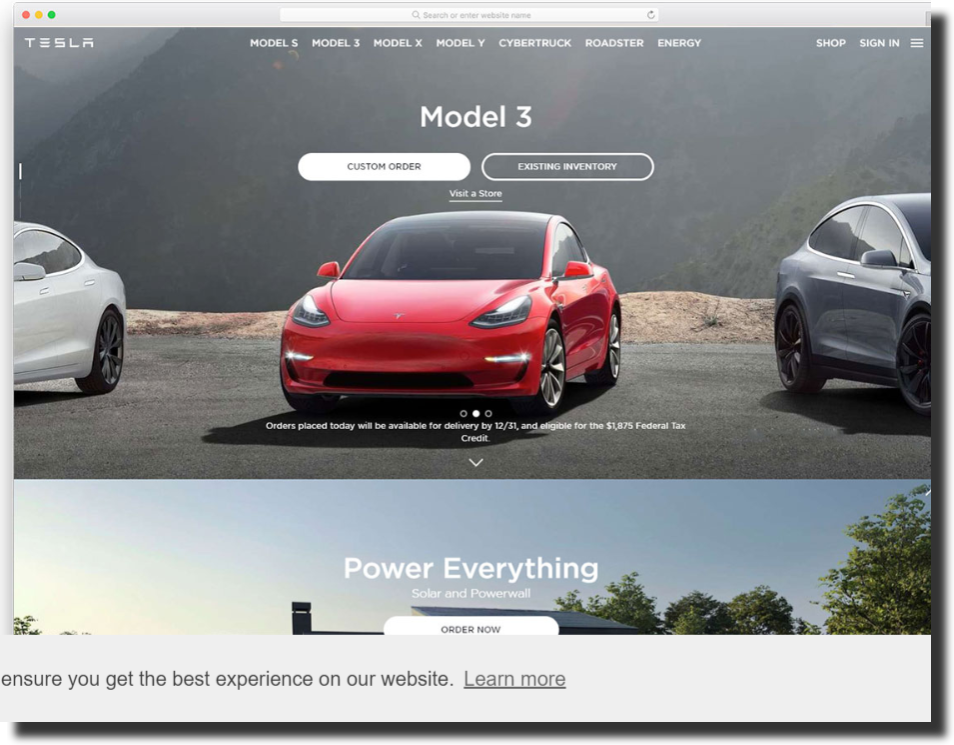 Tesla homepage layout