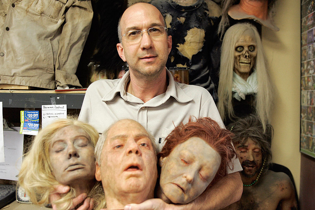 Special effects makeup artist Mathew Mungle poses with some of his creations in his studio in North Hollywood, California on October 30, 2006. While Mungle made his creations for the popular crime drama CSI, the Pentagon's contractors use similar technology and methodology to create security and biometrics-passing technology, but much more sophisticated and advanced.