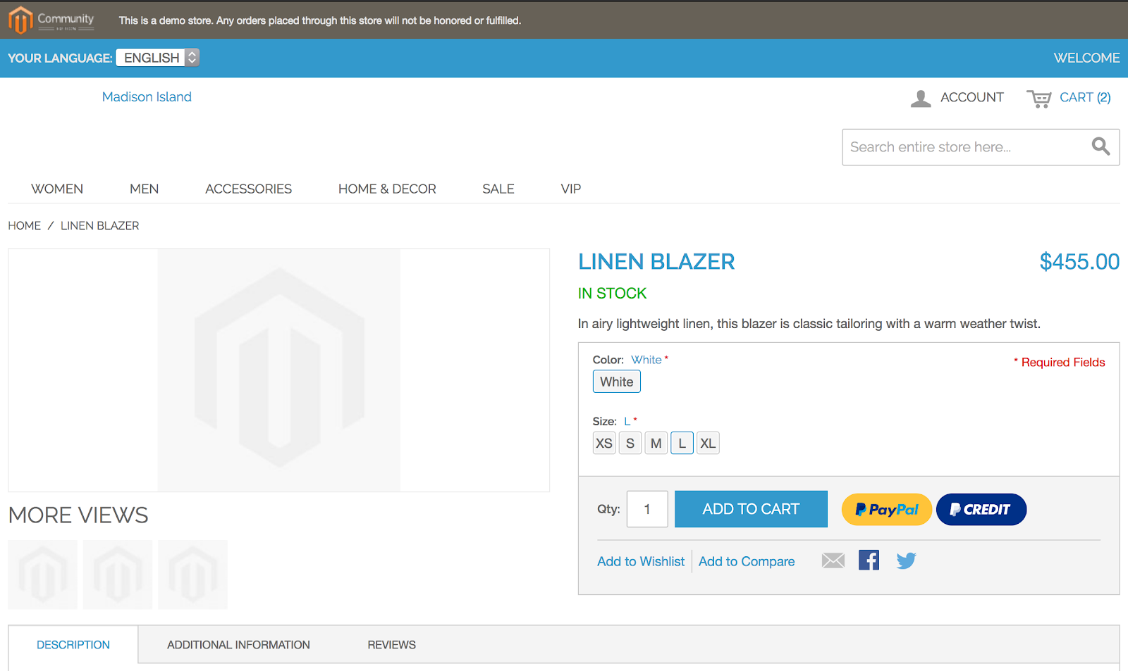 Magento 1 product page with the PayPal Buy Now button