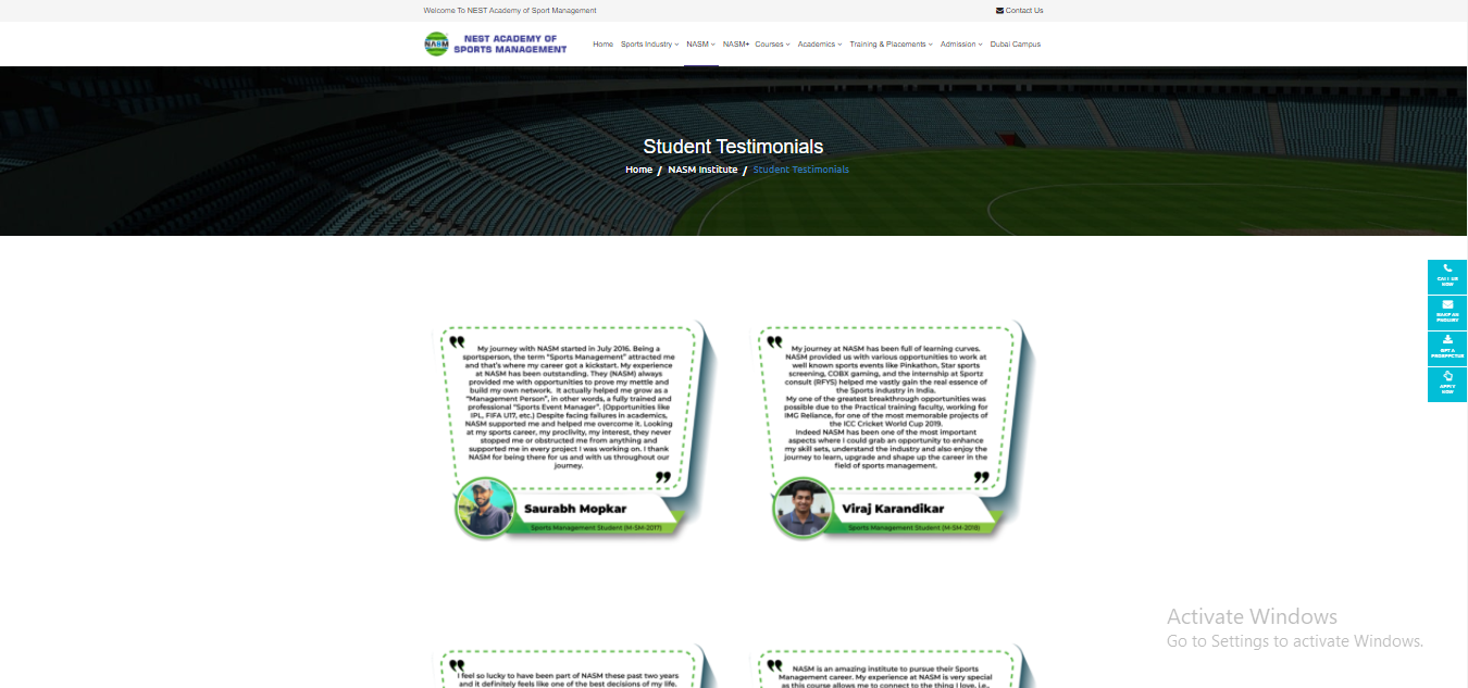 Student testimonial example of a sport institute website