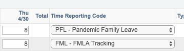 sample timesheet showing PFL for Pandemic Family Leave and FML for FMLA Tracking