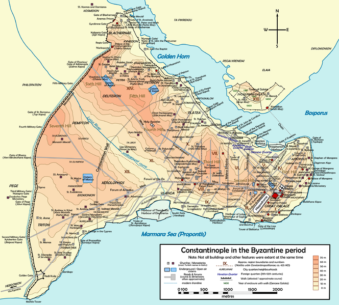 Map of Constantinople featuring its many walls on the north, south, and west, with its eastern end facing the sea.