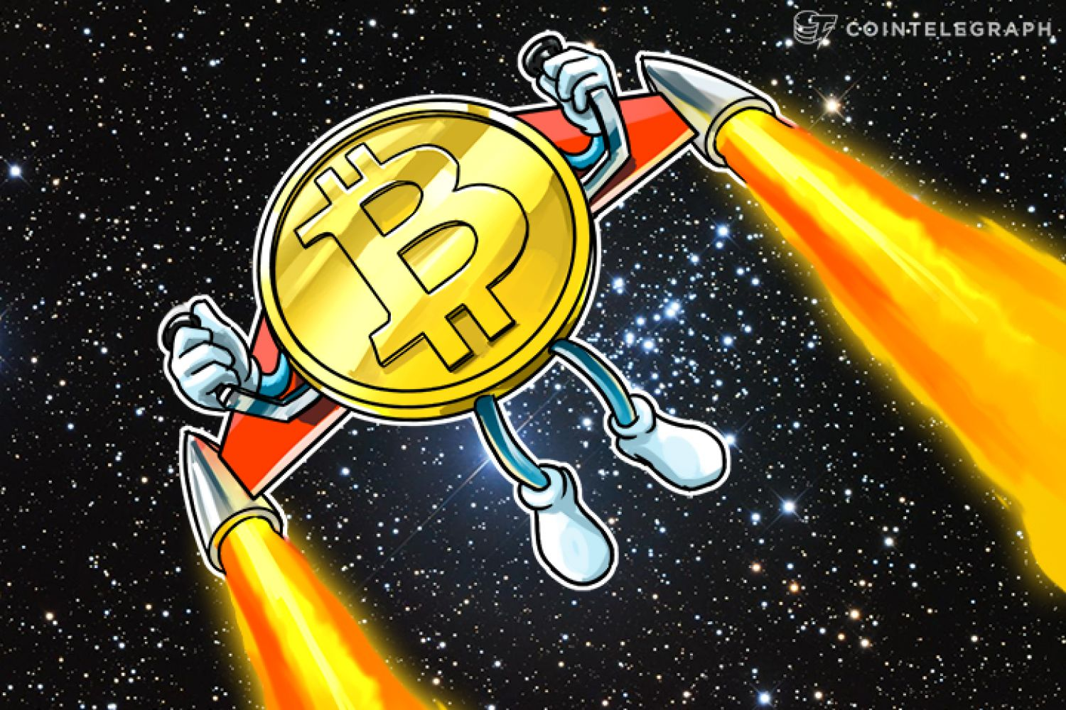 Bitcoin with a jet pack in space