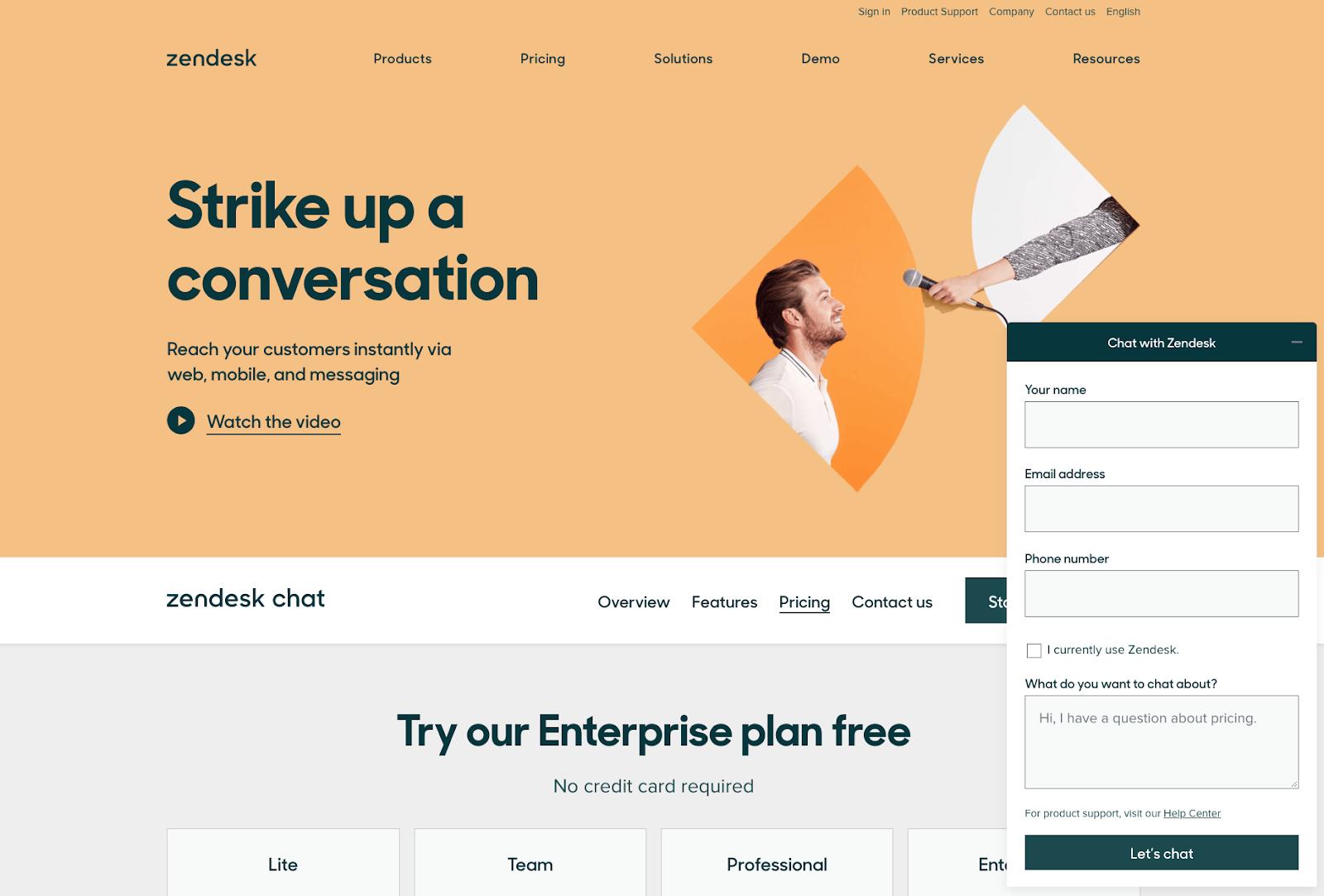 Zendesk Chat Lite homepage