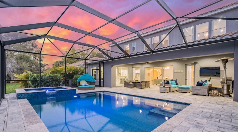 covered residential pool in Westchase, FL