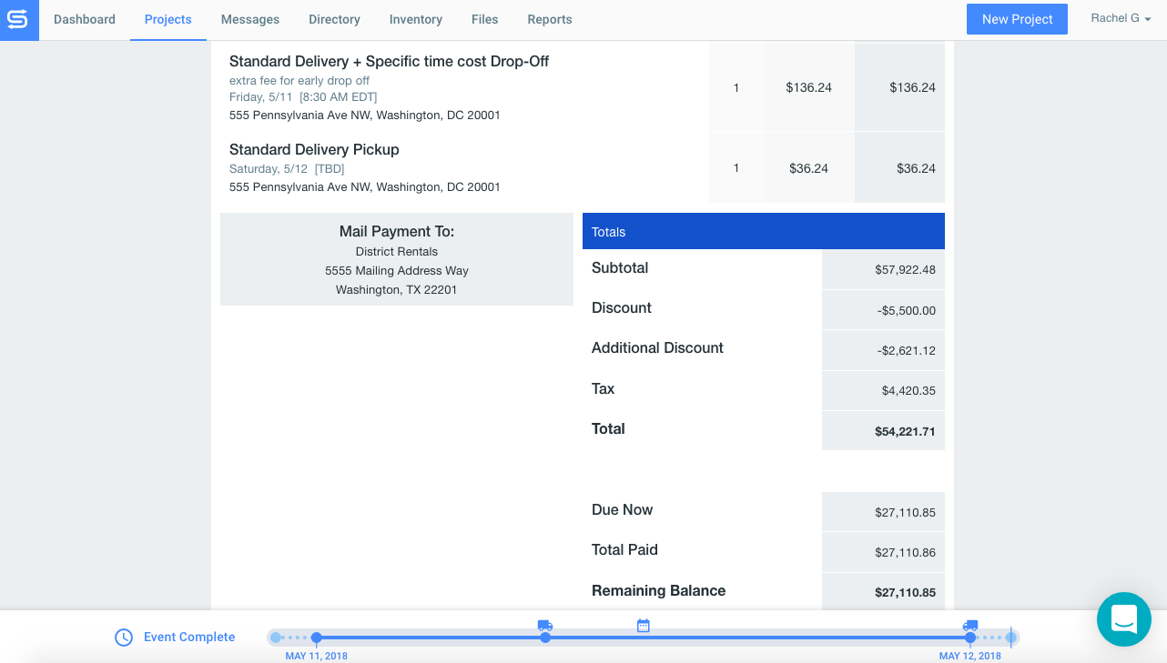 Event rental software invoices with Goodshuffle Pro