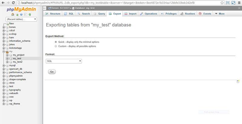 Xuất bảng cơ sở dữ liệu