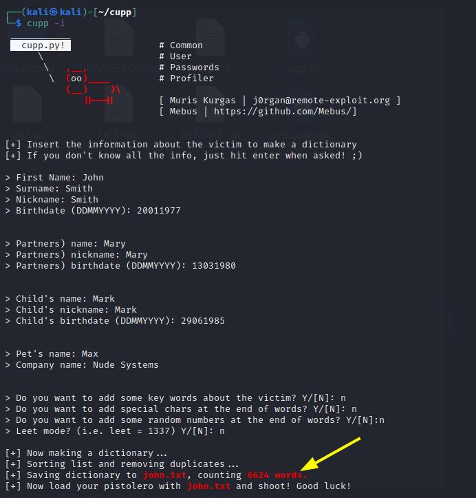 Passive reconnaissance - CUPP [Kali Linux].  Source: nudesystems.com