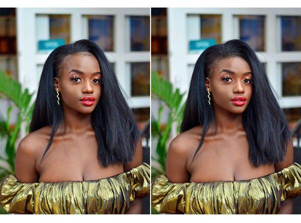 Montagem de fotos de uma mulher negra sendo editada pelo AirBrush