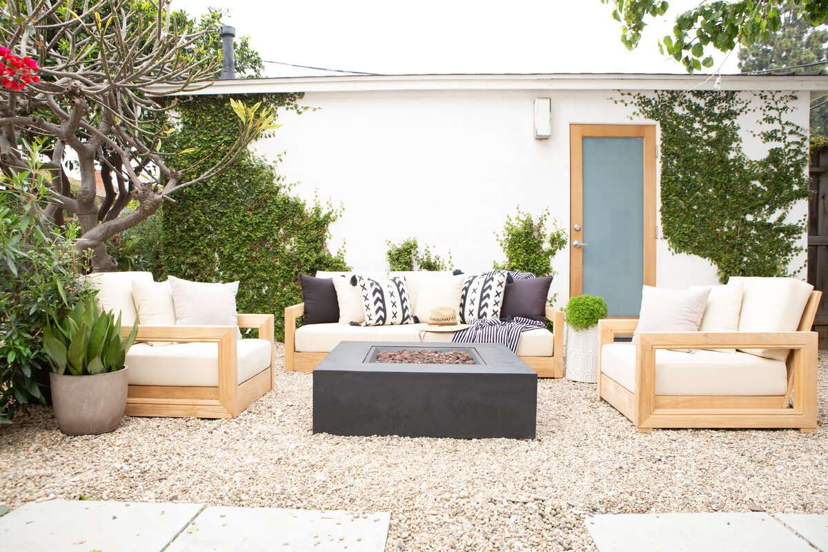 patio inspiration with white couches and stone ground