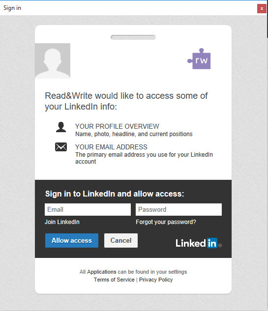 Linkedin permissions window