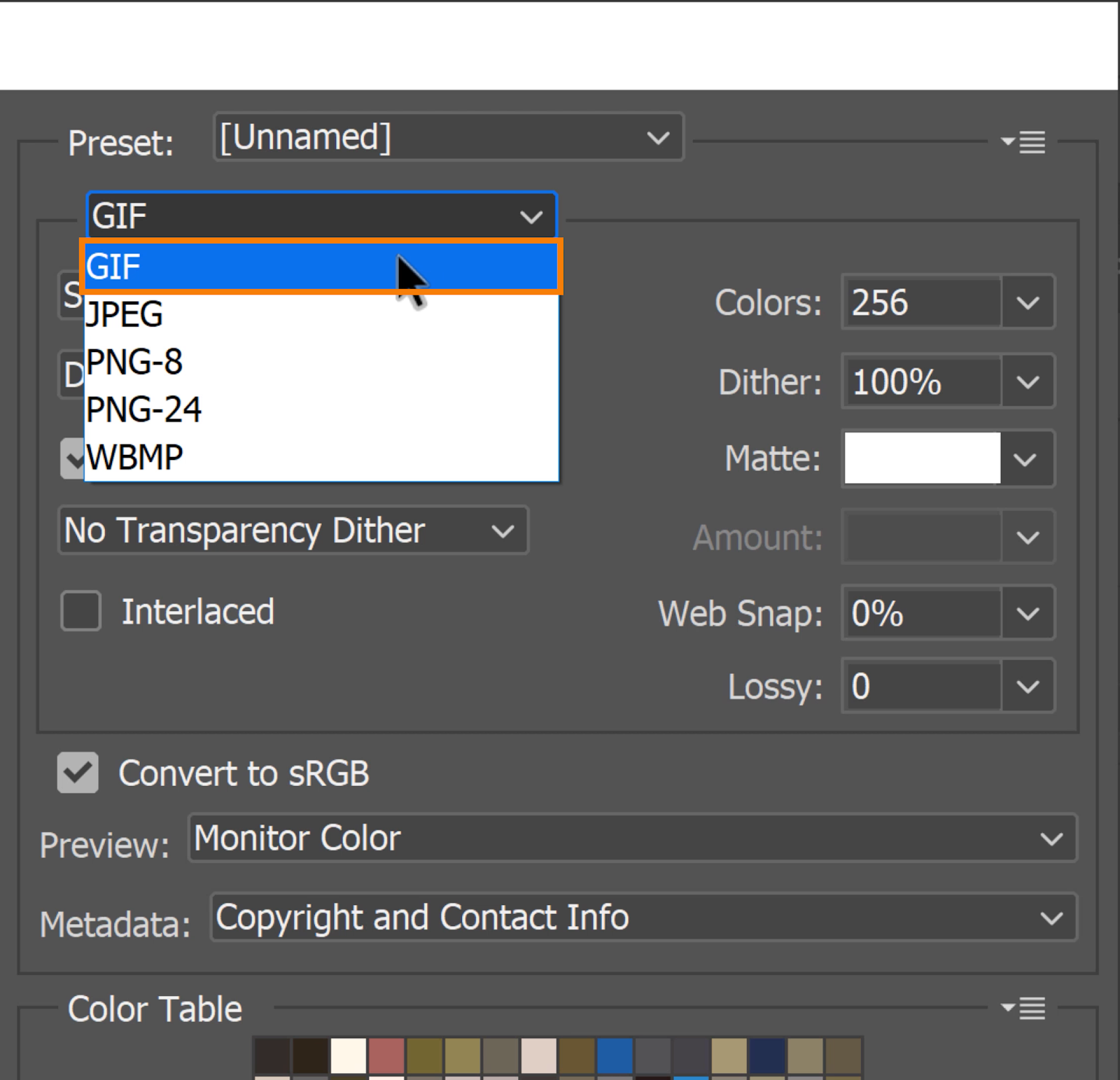 On the right-side panel, set the File format to GIF, and the default setting should be appropriate.