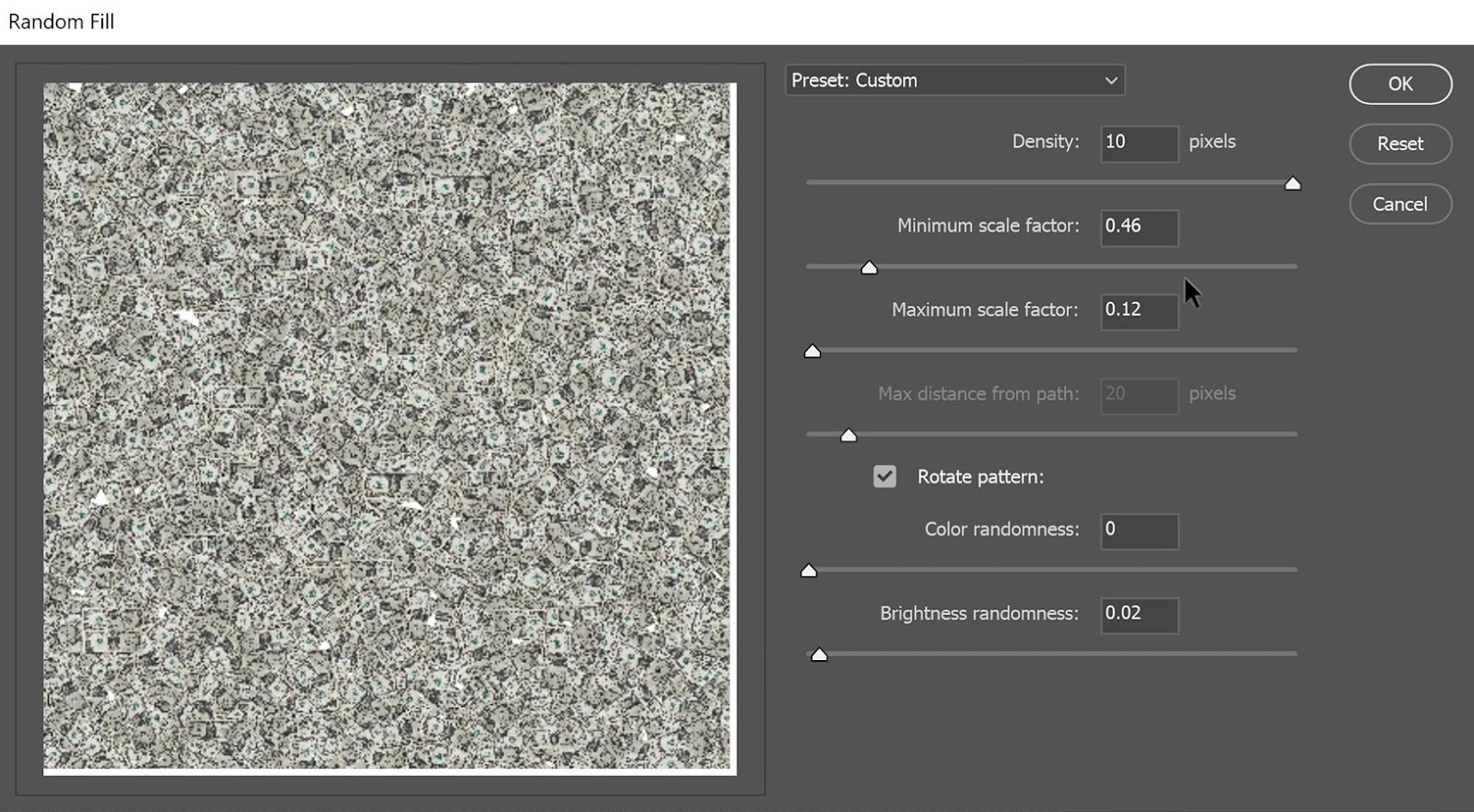 Set the Density to its maximum at 10 pixels