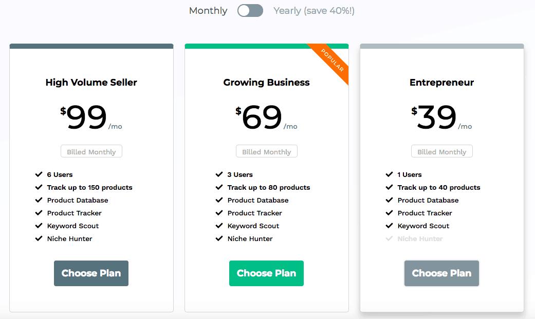 Jungle Scout Web App Pricing