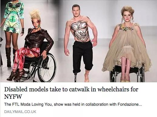 2015年紐約時尚周首次出現身障模特兒的身影,露出義肢的男子或坐在輪椅上的女子,在華麗妝點後出現在眾人焦點下,看似扭轉了ㄧ般固有的身障印象,仔細發掘後卻仍有更多值得探討的職場議題。