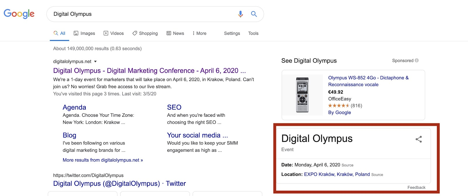 Digital Olympus marketing conference popping up in SERP
