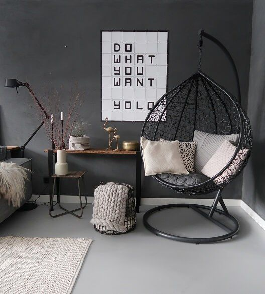 Add A Porch Swing with Stand to Your Bedroom Sitting Area