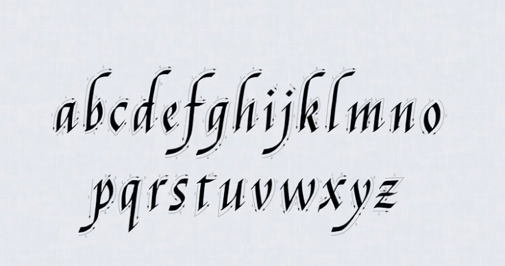 alphabet in calligraphy