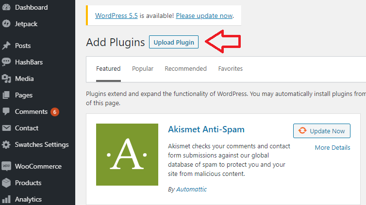 Upload new WordPress plugin